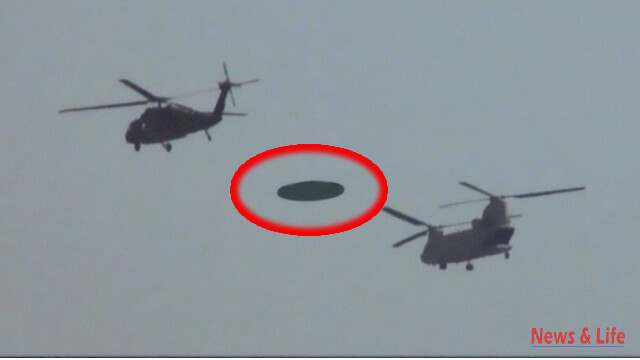 2 Military Helicopters Escorting A Flying Disk in What Looks Like A Real Video 1