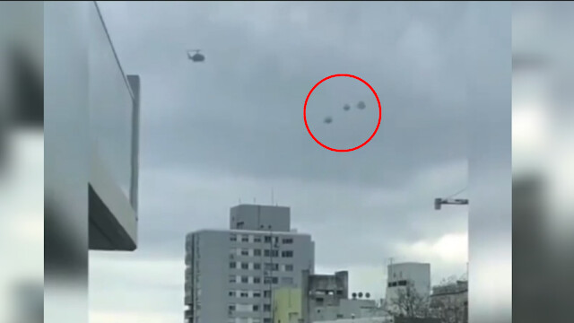 Helicopter Circling 3 UFO Spheres Downtown in Public 2