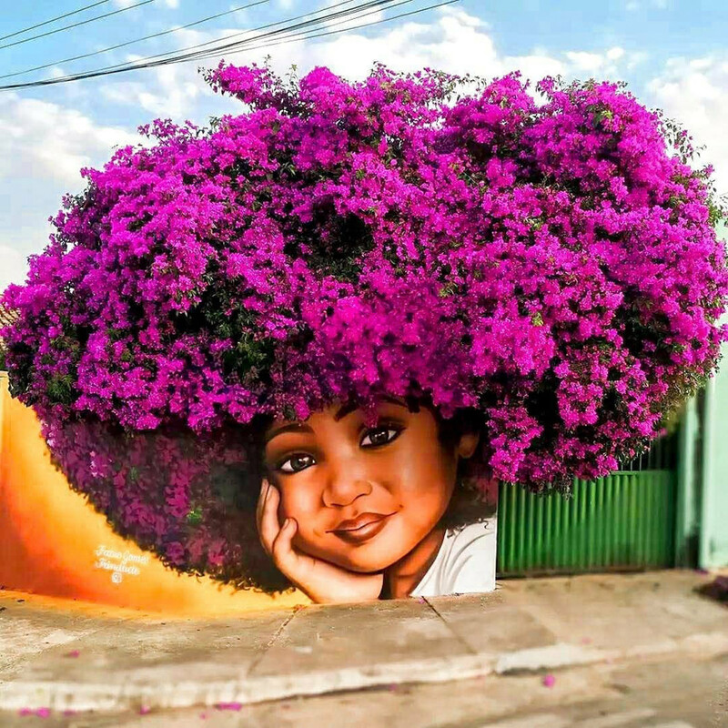 This brazilian street artist used real trees to complete these portraits of women 1