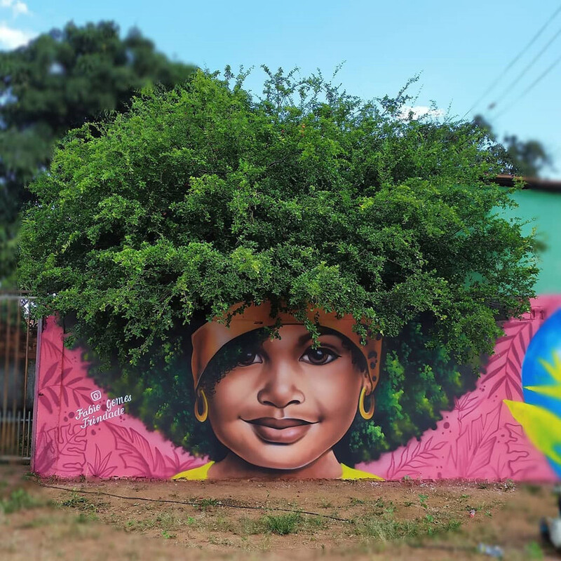 This brazilian street artist used real trees to complete these portraits of women 2