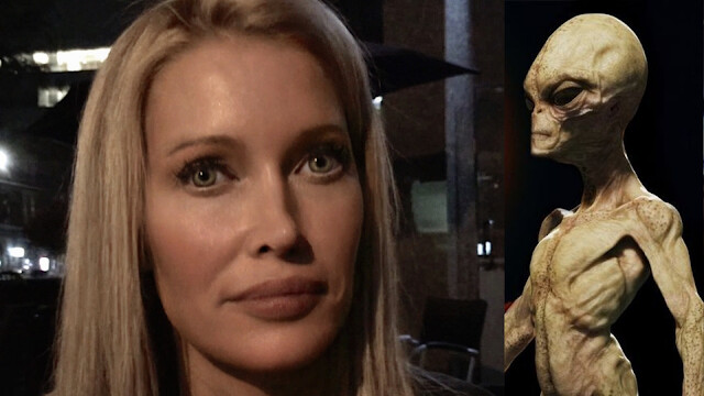 The woman who is 6 foot 3 inches tall with blonde hair and green eyes claims To Be An Alien Hybrid 1
