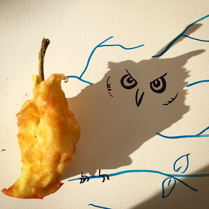 Artist Vincent Bal made shadows of common everyday objects turned into funny yet creative sketches 2