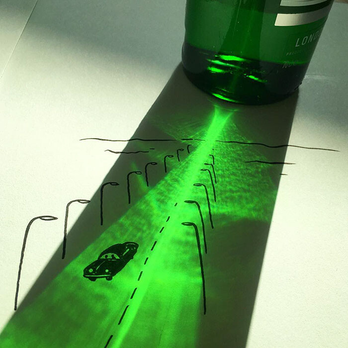 Artist Vincent Bal made shadows of common everyday objects turned into funny yet creative sketches 1