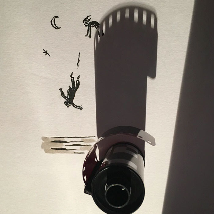Artist Vincent Bal made shadows of common everyday objects turned into funny yet creative sketches 5