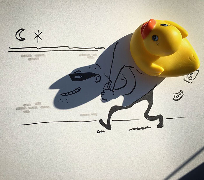 Artist Vincent Bal made shadows of common everyday objects turned into funny yet creative sketches 7