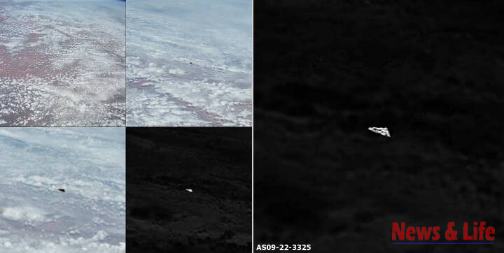 Triangular UFO was detected in official NASA photographs from the Apollo 9 1